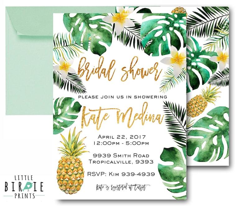 11249bd97aee TROPICAL BRIDAL SHOWER Invitation Pineapple Bridal Shower