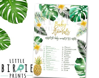 Tropical baby shower game Baby Animal Name Game Luau Baby Shower game Baby Animal Game Palm Luau pineapple baby shower game instant download