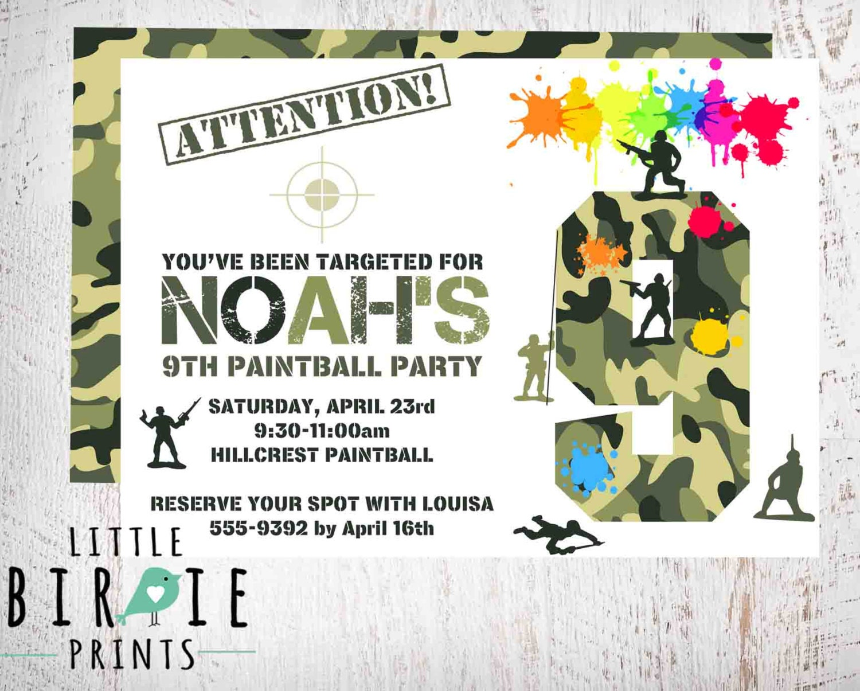PAINTBALL INVITATION Paintball birthday invitation Paintball | Etsy
