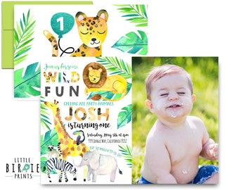 JUNGLE Birthday Party Invitation WILD ANIMAL birthday party invitation Wild ONe birthday invitation Safari Birthday invitation Lion Elephant