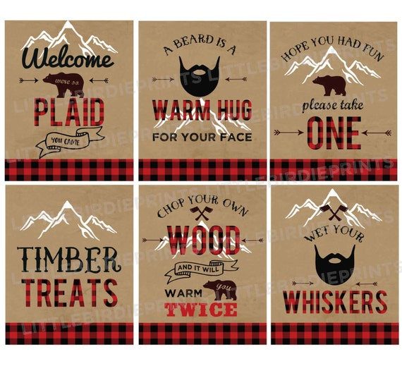 LUMBERJACK First Birthday Party - LUMBERJACK birthday party signs -  Lumberjack baby shower signs - Lumberjack decorations instant download