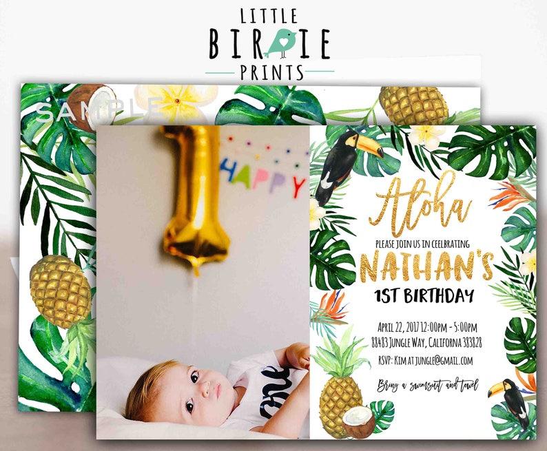 d9cb660fe625 TROPICAL Birthday party invitation BOY Pineapple invitation