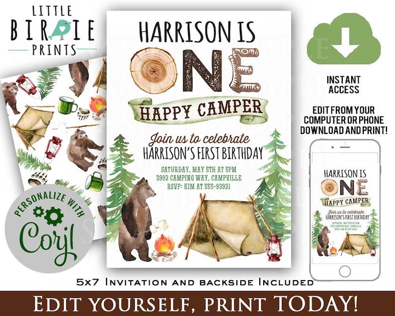 ONE HAPPY CAMPER Invitation Camping Birthday Camper