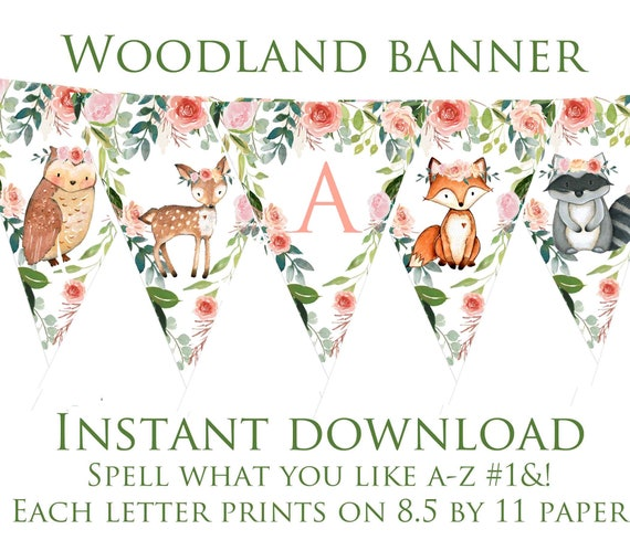 shower decoration Instant download Banner it/'s a Girl Woodland Baby Shower Woodland animals baby shower Printable Banner