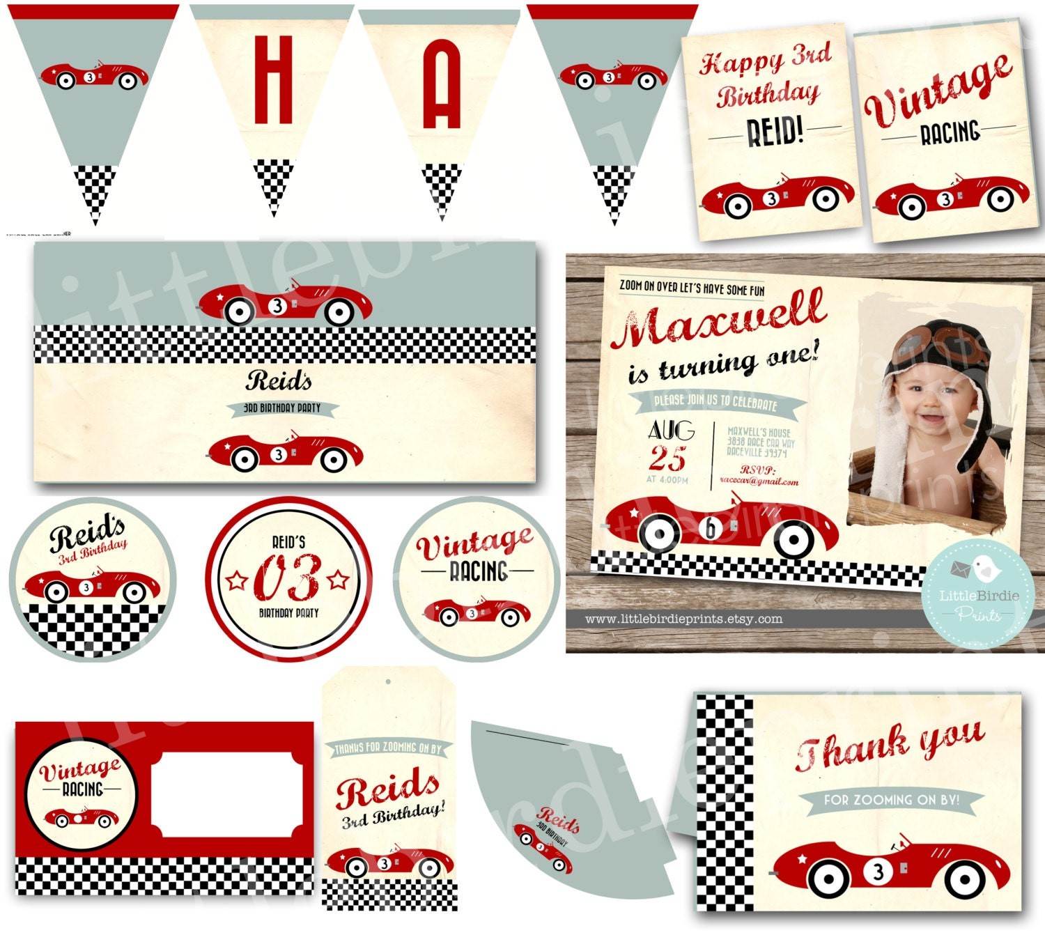 VINTAGE RACE CAR Invitation Birthday Party Classic Car Retro