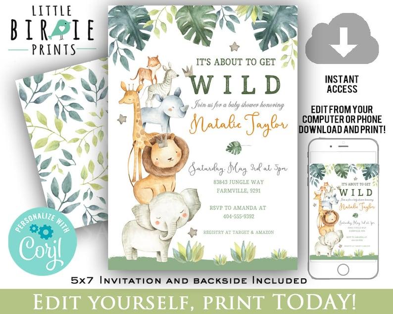 Jungle Baby Shower Invitation Watercolor Jungle Animals Baby Etsy