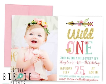 WILD ONE Invitation WILD one first birthday invitation Tribal Arrow Boho Dreamcatcher Teepee Invitation First Birthday Arrow Invitation gold