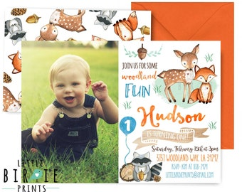 WOODLAND BIRTHDAY INVITATION Woodland first birthday invitation Woodland birthday party invitation Fox Birthday 1st birthday Deer raccoon