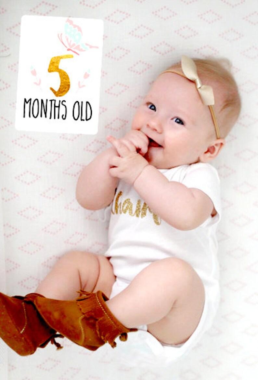 Baby Milestone Cards Baby Girl Milestone Cards Gold Pink Mint Milestone cards Printable Milestone cards Newborn Photo prop Photography