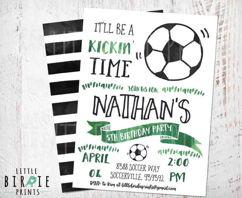 Soccer Invitation Soccer Birthday Party Invitation Soccer Etsy
