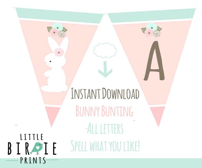Bunny First Birthday Bunny Baby Shower Bunting Banner Spell Etsy