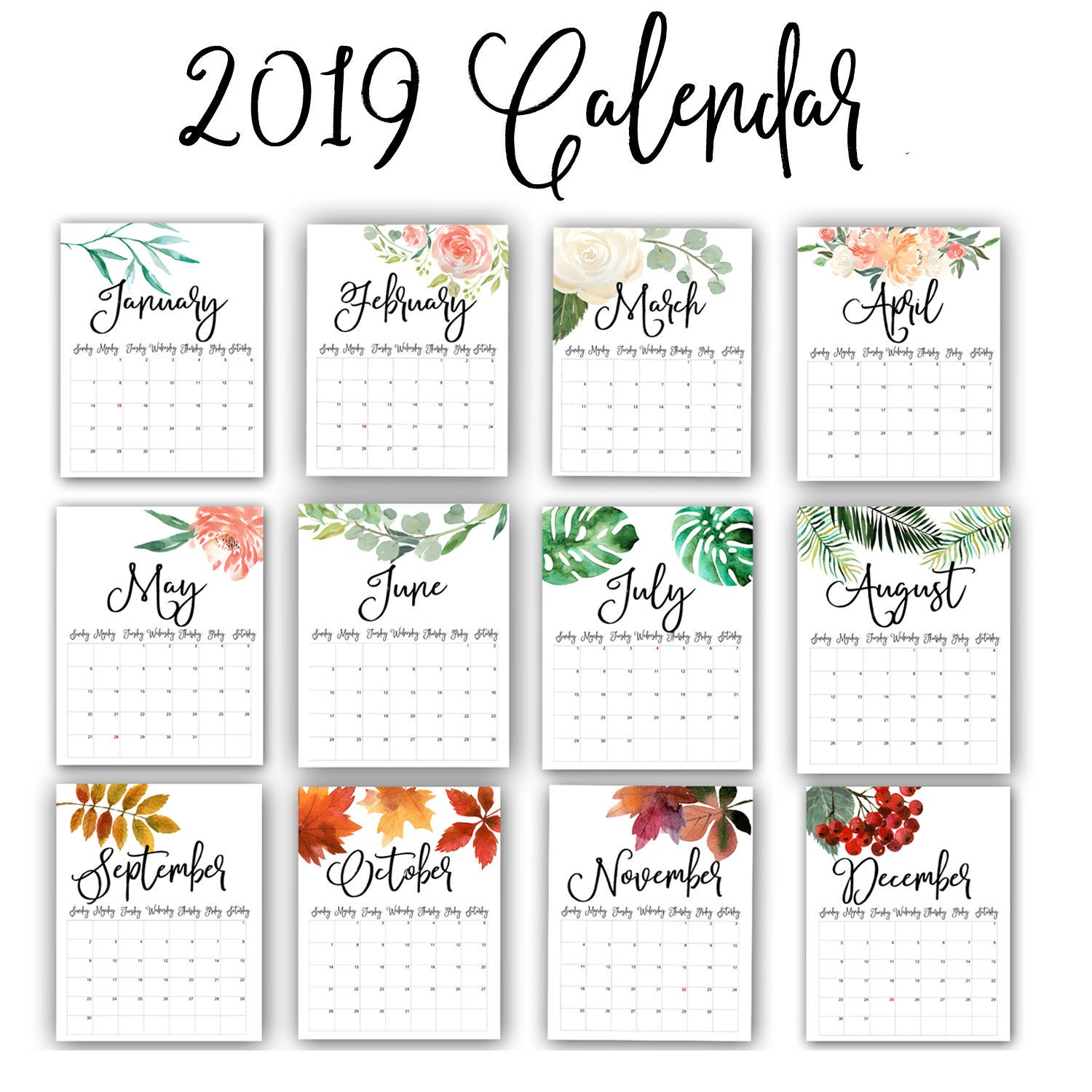 2019 2020 Floral Desk Calendar: 2019 Calendar Watercolor Flowers Calendar 2019 Monthly