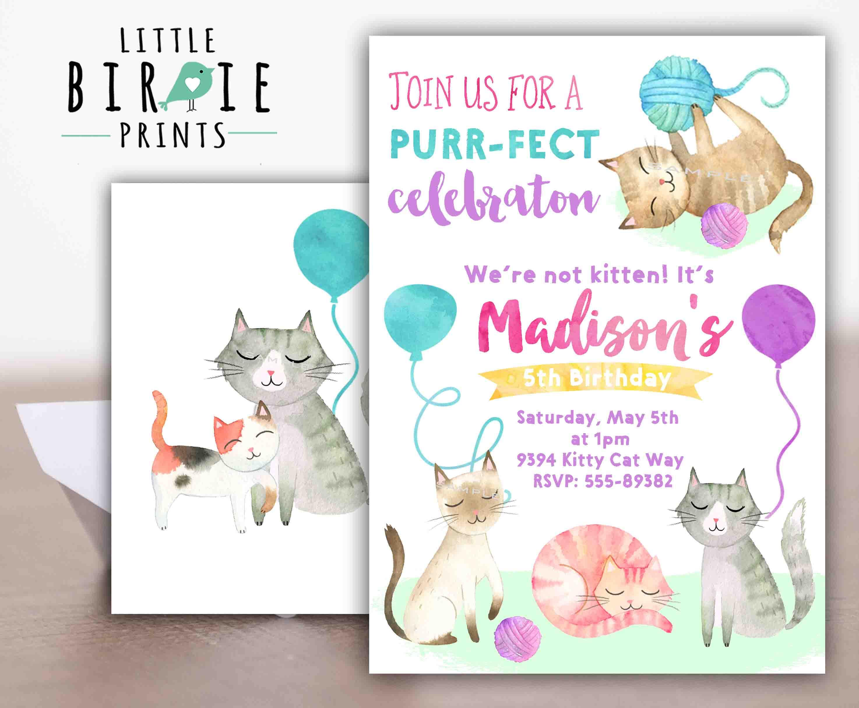 Kitty Cat birthday invitation Kitty birthday invitation | Etsy