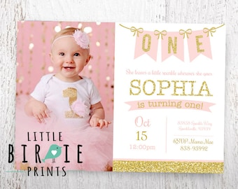 GOLD AND PINK birthday Invitation, Gold and pink First Birthday Invitation Pink and Gold Invitation Gold Glitter First birthday invitation