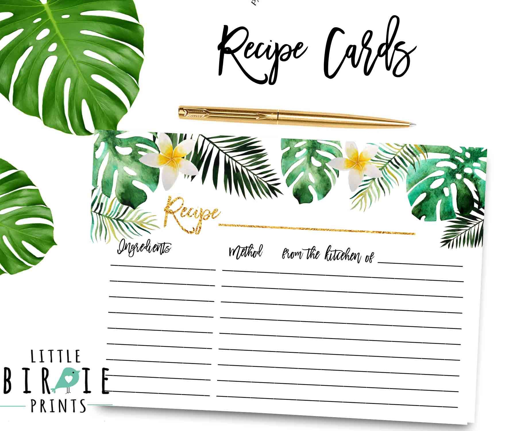 TROPICAL BRIDAL SHOWER Recipe cards Pineapple Bridal Shower recipe cards Hawaiian Bridal shower game Palm leaves recipe cards