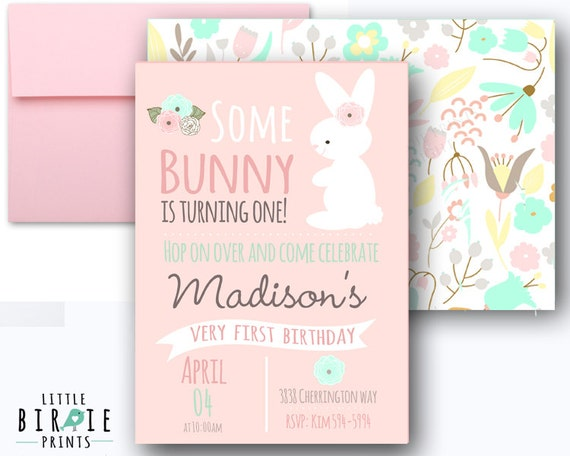 some bunny is turning one invitations bunny birthday party etsy