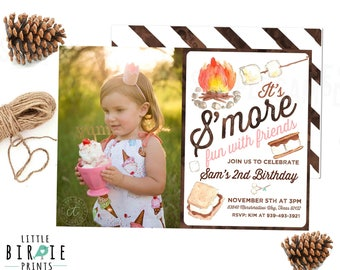 S'MORES Birthday Invitation - S'mores invitation S'more  birthday party Camping birthday invitation S'more party watercolor boy girl options