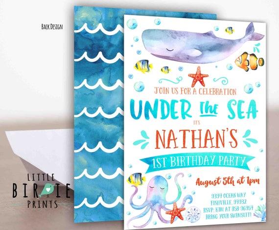 Under The Sea Birthday Invitation Boy Party