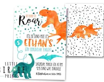 DINOSAUR INVITATION DINOSAUR Birthday Party Invitation Dinosaur Birthday Party Printable Invitation Watercolor Dinosaur Invitation