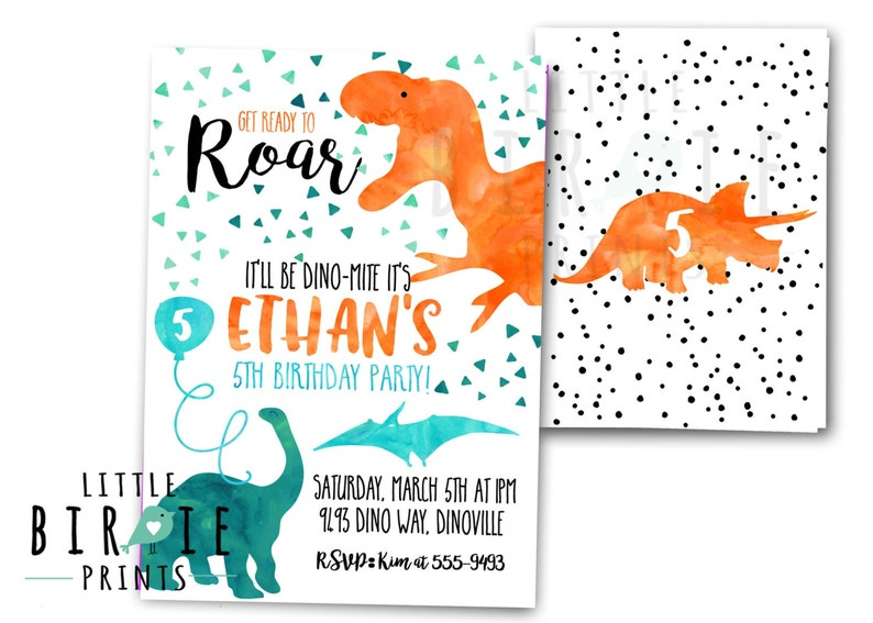 DINOSAUR INVITATION Birthday Party Invitation Dinosaur Printable Watercolor
