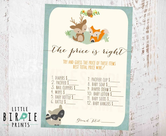 WOODLAND Baby Shower Game The Price Is Right Template Fox Deer