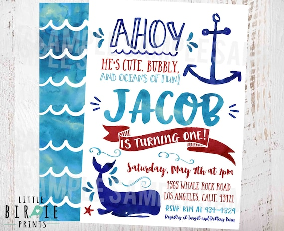 NAUTICAL BIRTHDAY Invitation Whale Birthday