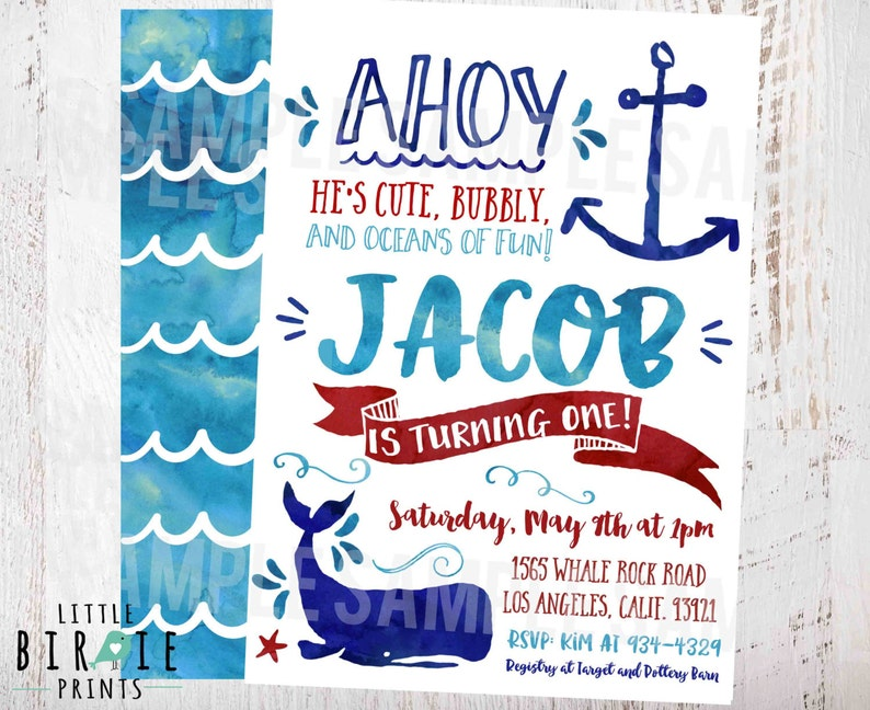 NAUTICAL BIRTHDAY Invitation Whale Birthday Watercolor Nautical Party Anchor Beach