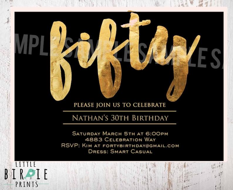 50th Birthday Invitation 50 Fifty Black
