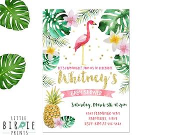Flamingo Baby Shower invitation Pineapple baby shower invitation Girl Flamingo Baby Shower Invitation Gold Flamingo baby shower invitation