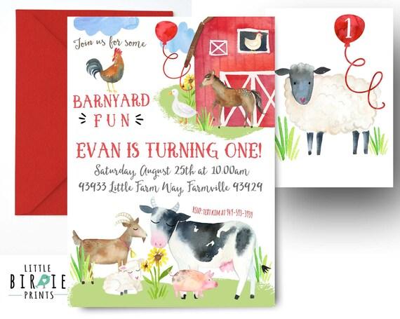 FARM INVITATION Farm Birthday Invitation Animals
