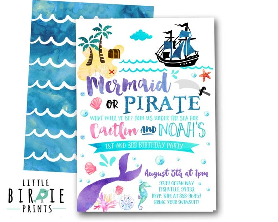 Mermaid Pirate Invitation Mermaid And Pirate Party Invitation Etsy