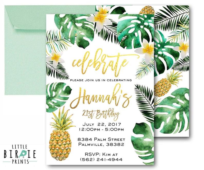 0b733c35c74d Tropical Birthday Party Invitation Tropical Adult Birthday