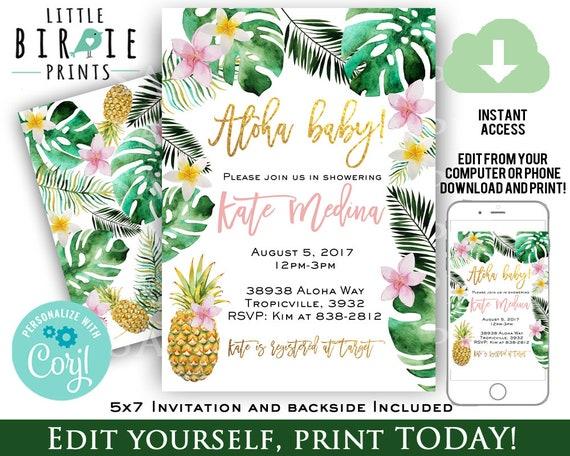 e0a1c7cd33b TROPICAL BABY SHOWER Invitation Girl Pineapple baby Shower Invitation Palm  Leaves Baby Shower Invitation Luau Hawaiian Pink Tropical shower