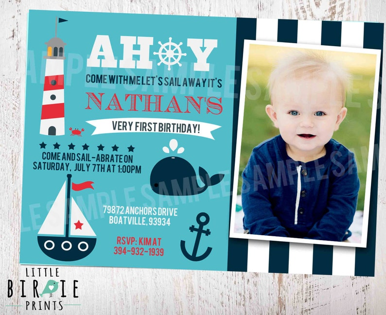 NAUTICAL INVITATION Nautical First Birthday Invitation Boat Lighthouse Whale