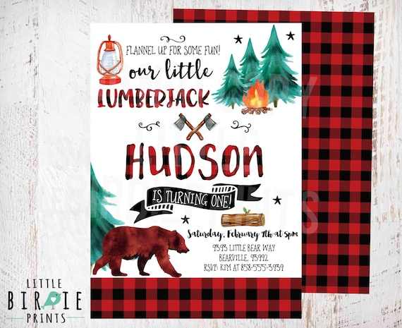LUMBERJACK First BIRTHDAY INVITATION Printable Invite