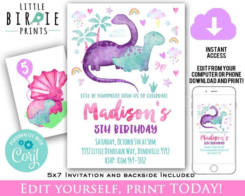 GIRL DINOSAUR BIRTHDAY Invitation Dinosaurs