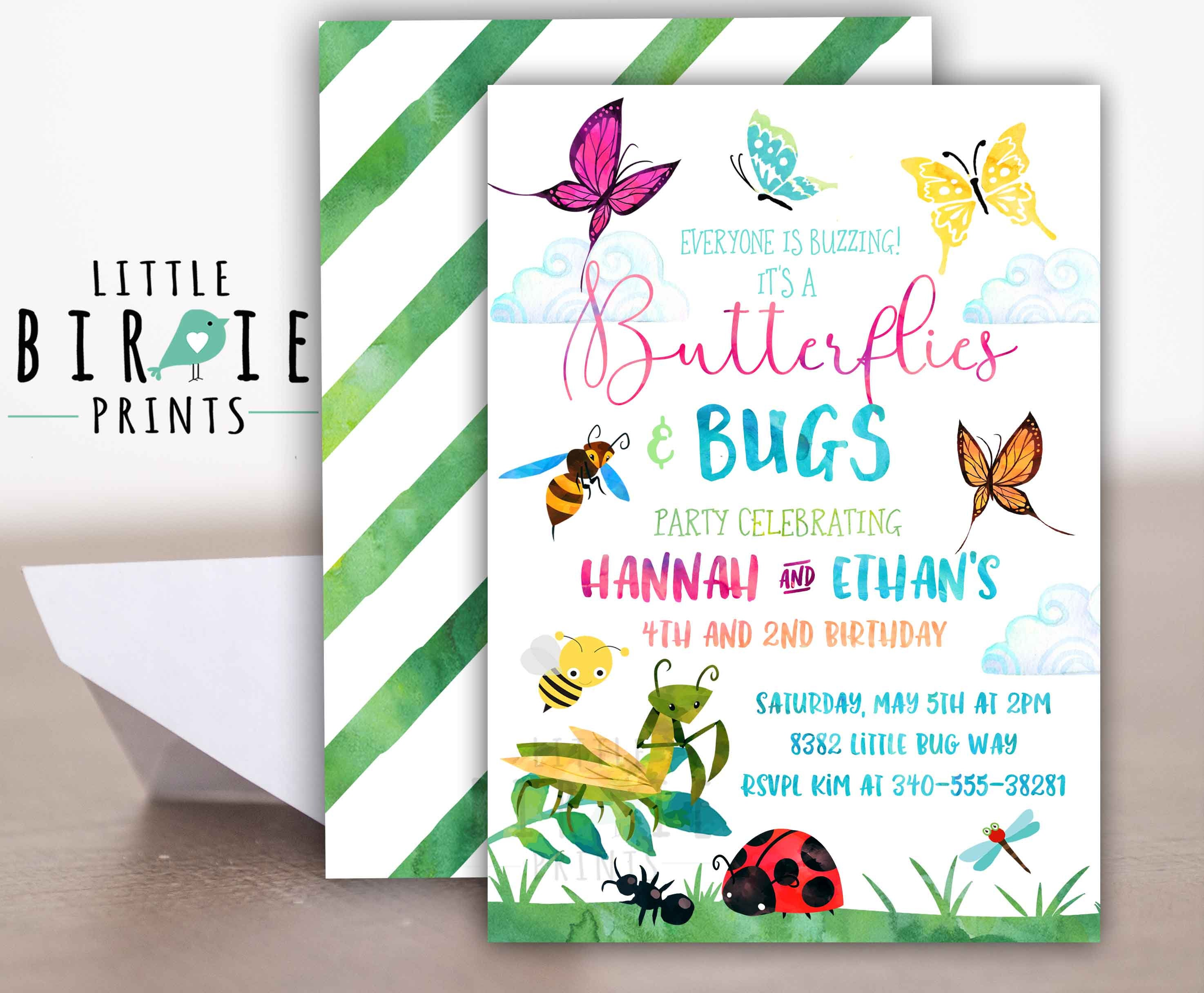 Butterflies and Bugs invitation Butterfly Birthday Bug | Etsy