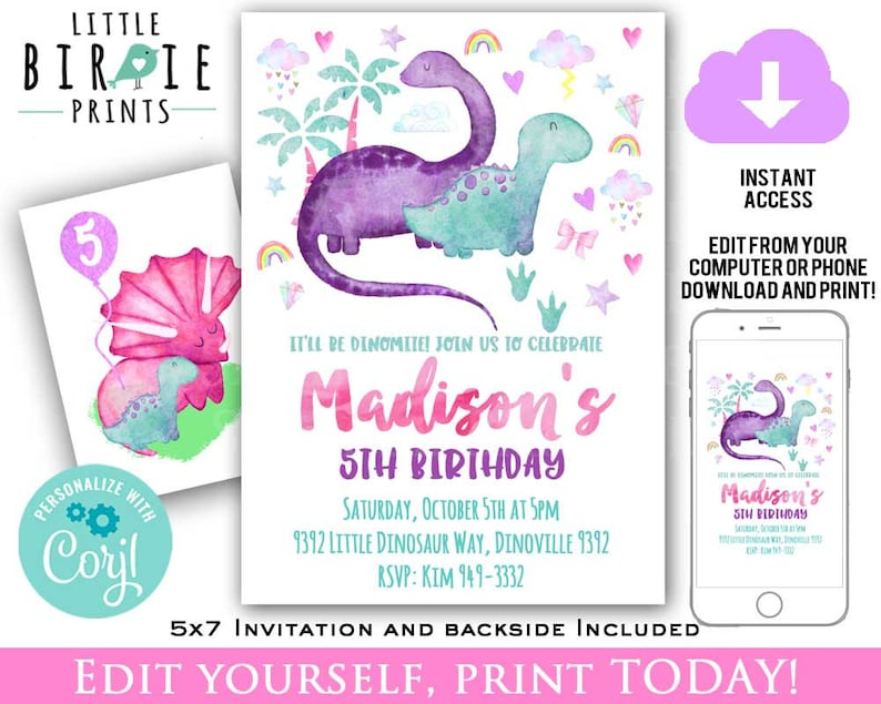 GIRL DINOSAUR BIRTHDAY Invitation Dinosaurs Watercolor Dinosaur Birthday Party Instant Download Printable Editable Invite Pink