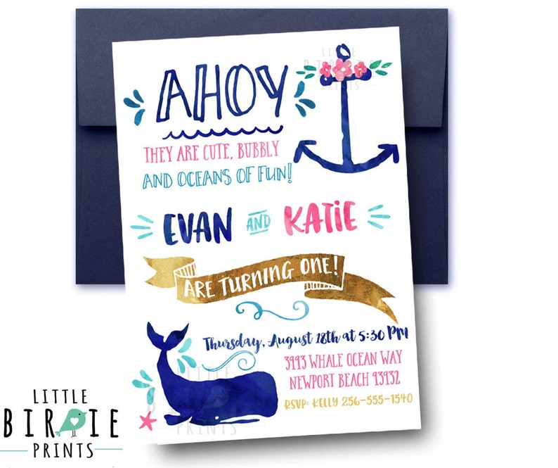 NAUTICAL BIRTHDAY PARTY Invitation Nautical Whale Birthday Girl And Boy Dual Twins Siblings First