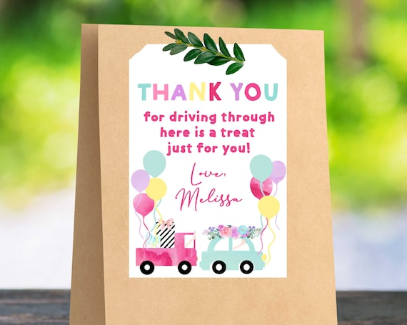 Drive Through Birthday Party Party Favor Tags Drive By Etsy