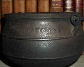 18th Century Small Cast Iron Cauldron Stamped 39 Carron 39 - Revolutionary War Era Soldier 39 s Cauldron