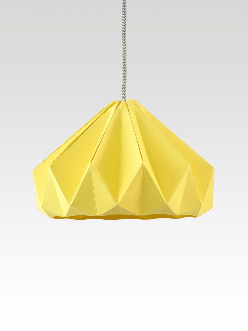 paper origami lamp Chestnut Autumn Yellow. Pendant lighting image 0