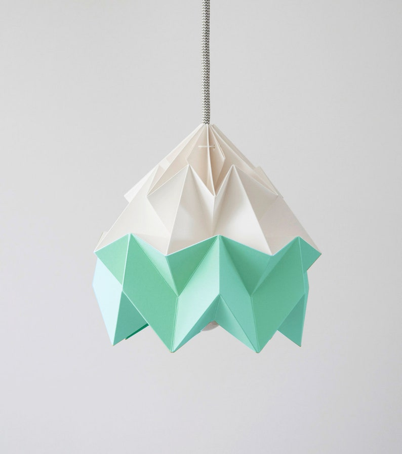 Moth origami lampshade Mint green and white image 0