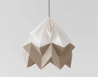 Moth origami lampshade brown and white