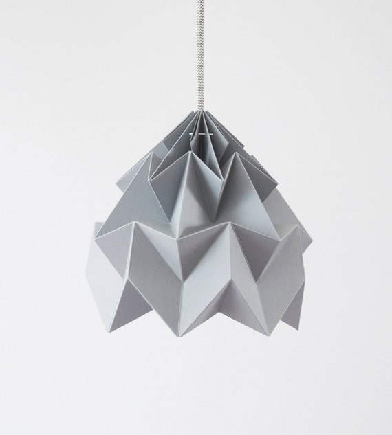 Origami paper lamp shade moth grey etsy aloadofball Image collections