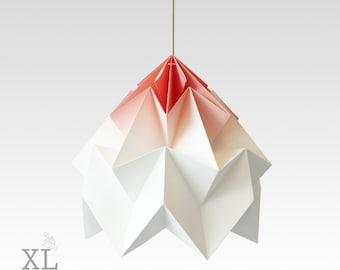 XL Moth origami lampshade gradient coral