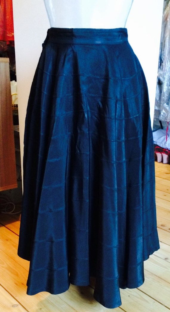 Beautiful Black Rayon circle skirt 1950