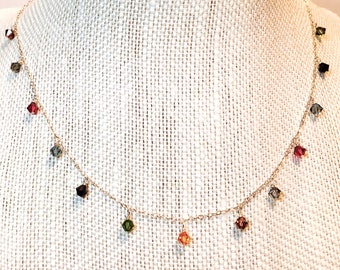 Droplet Necklace with 13 Swarovski Crystal Beads on Sterling Silver Chain