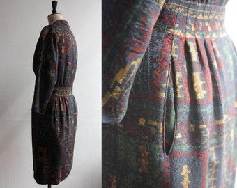 SALE Vintage 1960s Pauline Trigere Designer Multi Coloured Woven Dress Size M