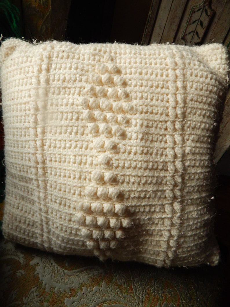PAIR of Vintage Crocheted Throw Pillow Boho Style